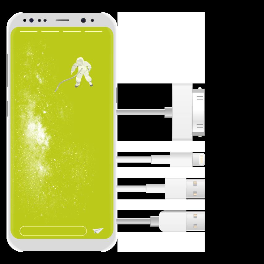 technische Illustration Smartphone und USB Verbindungen