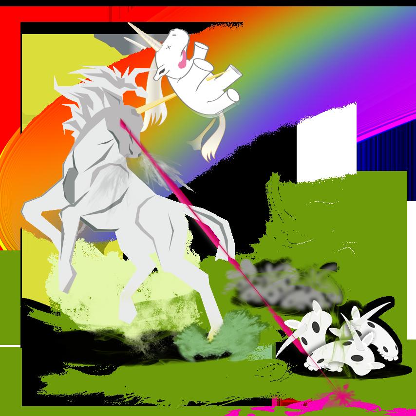 Vektor Illustration eines Einhorns, dass ein Einhorn aufspießt
